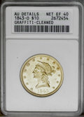 1843-O $10 --Cleaned, Graffiti-- ANACS. AU Details, Net XF40. NGC Census: (37/226). PCGS Population (37/108). Mintage: 1...