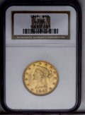 Liberty Eagles: , 1847 $10 AU55 NGC. NGC Census: (98/165). PCGS Population (33/59). Mintage: 862,258. Numismedia Wsl. Price: $575. (#8597)...