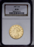 Liberty Eagles: , 1851 $10 XF45 NGC. NGC Census: (48/139). PCGS Population (29/48).Mintage: 176,328. Numismedia Wsl. Price: $460. (#8606)...
