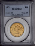 Liberty Eagles: , 1879 $10 MS60 PCGS. PCGS Population (27/115). NGC Census: (115/305). Mintage: 384,770. Numismedia Wsl. Price: $400. (#8683)...