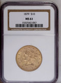Liberty Eagles: , 1879 $10 MS61 NGC. NGC Census: (190/115). PCGS Population (39/68). Mintage: 384,770. Numismedia Wsl. Price: $500. (#8683)...