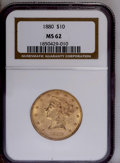 Liberty Eagles: , 1880 $10 MS62 NGC. NGC Census: (228/29). PCGS Population (165/46). Mintage: 1,644,876. Numismedia Wsl. Price: $492. (#8687)...