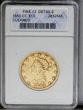 Liberty Eagles: , 1883-CC $10 --Cleaned-- ANACS. Fine 12 Details. NGC Census: (2/171). PCGS Population (0/113). Mintage: 12,000. Numismedia Ws...
