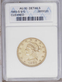 1883-S $10 --Cleaned-- ANACS. AU50 Details. NGC Census: (14/72). PCGS Population (22/81). Mintage: 38,000. Numismedia Ws...