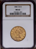 Liberty Eagles: , 1886-S $10 MS62 NGC. NGC Census: (732/166). PCGS Population (548/165). Mintage: 826,000. Numismedia Wsl. Price: $432. (#870...