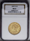 Liberty Eagles: , 1899-S $10 MS61 NGC. NGC Census: (114/119). PCGS Population (62/156). Mintage: 841,000. Numismedia Wsl. Price: $348. (#8744...