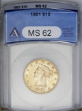 Liberty Eagles: , 1901 $10 MS62 ANACS. NGC Census: (5576/6866). PCGS Population (4361/4353). Mintage: 1,718,825. Numismedia Wsl. Price: $420....