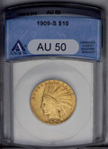 Indian Eagles: , 1909-S $10 AU50 ANACS. NGC Census: (13/322). PCGS Population (28/315). Mintage: 292,350. Numismedia Wsl. Price: $480. (#886...
