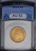 Indian Eagles: , 1910-S $10 AU53 ANACS. NGC Census: (35/687). PCGS Population (99/677). Mintage: 811,000. Numismedia Wsl. Price: $484. (#886...