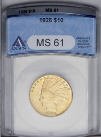 1926 $10 MS61 ANACS. NGC Census: (2498/16237). PCGS Population (2352/15977). Mintage: 1,014,000. Numismedia Wsl. Price:...