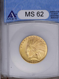 1926 $10 MS62 ANACS. NGC Census: (6657/9674). PCGS Population (7795/8247). Mintage: 1,014,000. Numismedia Wsl. Price: $9...