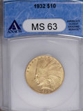 1932 $10 MS63 ANACS. NGC Census: (10170/7790). PCGS Population (11300/5925). Mintage: 4,463,000. Numismedia Wsl. Price:...