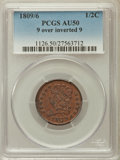 Half Cents: , 1809/6 1/2 C 9 Over Inverted 9 AU50 PCGS. PCGS Population (24/86).NGC Census: (11/118). Mintage: 1,154,572. Numismedia Wsl...