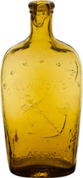 Antiques:Decorative Americana, New London Glass Works Yellow Pint Bottle,...