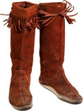 Music Memorabilia:Costumes, Jimi Hendrix Personally-Owned and Stage-Worn Moccasin-Style Suede Boots with Handwritten Letter of Authenticity from Noel Redd...