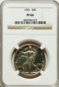 Proof Walking Liberty Half Dollars: , 1941 50C PR66 NGC. NGC Census: (946/477). PCGS Population(963/302). Mintage: 15,412. Numismedia Wsl. Price for problemfre...