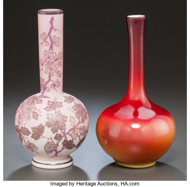 Plated Amberina Glass Bottleneck Vase And Glass And Lot 89329