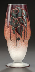 Art Glass:Other , FRENCH ART DECO OVERLAY GLASS VASE. Circa 1925-30, Signed:MODR. 10-3/4 inches high (27.3 cm). ...
