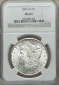 1885-CC $1 MS63 NGC. NGC Census: (2333/5910). PCGS Population (4617/12139). Mintage: 228,000. Numismedia Wsl. Price for...