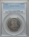 Bust Quarters: , 1822 25C VG10 PCGS. PCGS Population (14/129). NGC Census: (3/91).Mintage: 64,080. Numismedia Wsl. Price for problem free N...