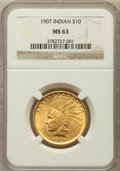 Indian Eagles: , 1907 $10 No Periods MS63 NGC. NGC Census: (812/1301). PCGSPopulation (1123/998). Mintage: 239,400. Numismedia Wsl. Price f...