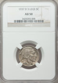 Buffalo Nickels, 1937-D 5C Three-Legged AU50 NGC. FS-901....