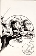 "Original Comic Art:Splash Pages, Charles Vess Marvel Fanfare #34 Alternate Cover Scene/""Warriors Three"" Portfolio Splash Page 23 Original Art (Marv..."