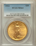 Saint-Gaudens Double Eagles: , 1922 $20 MS64 PCGS. PCGS Population (7308/1252). NGC Census:(7765/501). Mintage: 1,375,500. Numismedia Wsl. Price for prob...