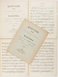 Books:Music & Sheet Music, [Music]. M. Glinka. Quatuor. Moscow and Liepzig: Jurgenson, [nd, circa 1880s]. Each part bound separately in pla... (Total: 5 Items)