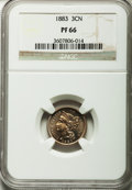 Proof Three Cent Nickels: , 1883 3CN PR66 NGC. NGC Census: (289/85). PCGS Population (351/67). Mintage: 6,609. Numismedia Wsl. Price for problem free N...