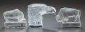 Art Glass:Lalique, THREE LALIQUE FROSTED GLASS ANIMAL SCULPTURES. Post 1945, Engraved:Lalique, France. 4-1/2 inches high (11.4 cm) (eagle)...(Total: 3 Items)