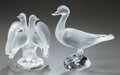 Art Glass:Lalique, TWO LALIQUE FROSTED AND CLEAR GLASS BIRD SCULPTURES. Post 1945,Engraved: Lalique, France. 9-1/2 inches high (24.1 cm) (...(Total: 2 Items)