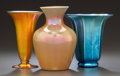 Art Glass:Steuben, STEUBEN GLASS GOLD AURENE FOOTED VASE AND BLUE AURENE VASE WITHANOTHER VASE . Circa 1920, Engraved: STEUBEN AURENE, 2909; S...(Total: 3 Items)
