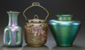 Art Glass:Other , TWO AUSTRIAN GLASS VASES AND A BRASS MOUNTED AUSTRIAN GLASS COOKIEJAR. Circa 1900. 7-3/8 inches high (18.7 cm) (tallest). ... (Total:3 Items)
