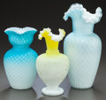 Art Glass:Other , THREE QUILTED SATIN GLASS VASES WITH RUFFLED RIMS . Early 20thcentury. 12-1/2 inches high (31.8 cm). ... (Total: 3 Items)
