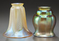 Art Glass:Other , TWO IRIDESCENT GLASS LAMP SHADES. Circa 1900, Engraved: Lustreart (to feathered). 5-1/4 inches high (13.3 cm) (taller)...(Total: 2 Items)