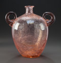Art Glass:Steuben, TWO-HANDLED PINK GLASS VASE ATTRIBUTED TO STEUBEN. Circa 1925.11-1/2 inches high (29.2 cm). ...