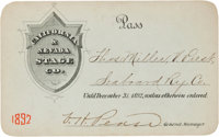 1892 California & Nevada Stage Co. Pass