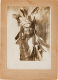 Photography:Cabinet Photos, Geronimo in His War Bonnet: Silver Gelatin Cabinet Photo....
