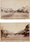 Photography:Cabinet Photos, Cabinet Cards: Two Street Scenes of Miller, Dakota, byTempleman.... (Total: 2 Items)
