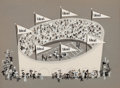 """Animation Art:Production Cel, Ideal Toy Company """"Football Stadium"""" Production Cel (FormatFilms/Playhouse Pictures, 1950s-60s)...."""