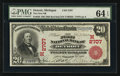 Detroit, MI - $20 1902 Red Seal Fr. 639 The First NB Ch. # (M)2707