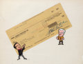 Animation Art:Production Cel, Bill Hanna and Joe Barbera Double-Signed Check and CaricaturesHand-Inked and Hand-Painted Production Cel (Hanna-Barbera, 1964...(Total: 2 Items)