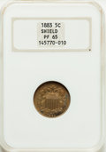 Proof Shield Nickels: , 1883 5C PR65 NGC. NGC Census: (358/275). PCGS Population (412/219).Mintage: 5,419. Numismedia Wsl. Price for problem free ...