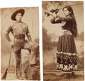 "Photography:Cabinet Photos, Cabinet Cards Picturing Sharpshooter Duo ""Prairie Flower"" and""Chief Black Cloud.""... (Total: 2 )"