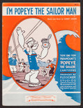 "Movie Posters:Animation, I'm Popeye the Sailor Man (Famous Music Corp., 1934). Sheet Music(6 Pages, 9"" X 12""). Animation.. ..."