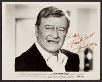 "John Wayne in McQ (Warner Brothers, 1974). Autographed Photo (8"" X 10""). Action"