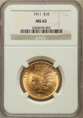 Indian Eagles: , 1911 $10 MS62 NGC. NGC Census: (3345/2834). PCGS Population(2596/2274). Mintage: 505,595. Numismedia Wsl. Price for proble...