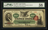 Fr. 95b $10 1863 Legal Tender PMG Choice About Uncirculated 58