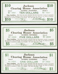 Jackson, TN- Jackson Clearing House Association $1; $5; $10 July 1, 1933 Shafer TN265-1a; 5a; 10a